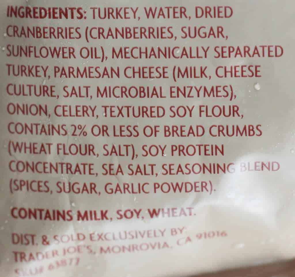 Ingredient list of Trader Joe's Turkey Cranberry Meatballs
