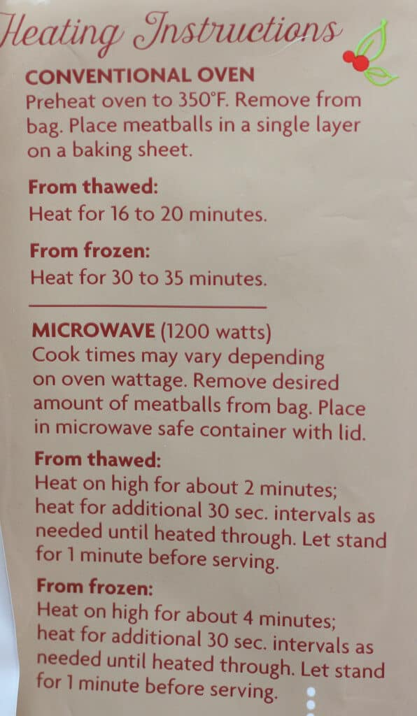 Heating instructions for Trader Joe's Turkey Cranberry Meatballs