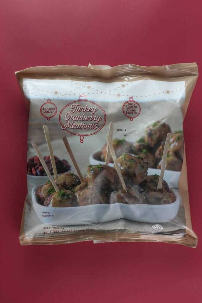 An unopened bag of Trader Joe's Turkey Cranberry Meatballs