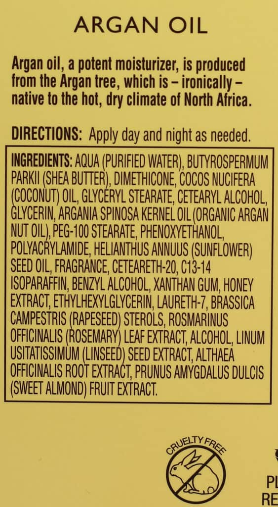 Argan Oil Lotion ingredients in Trader Joe's Ultra Moisturizing Hand Cream