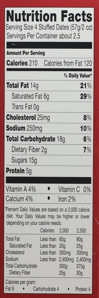 Calories and nutritional facts in Trader Joe's Uncured Bacon Wrapped Dates