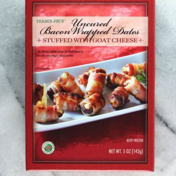 An unopened box of Trader Joe's Uncured Bacon Wrapped Dates