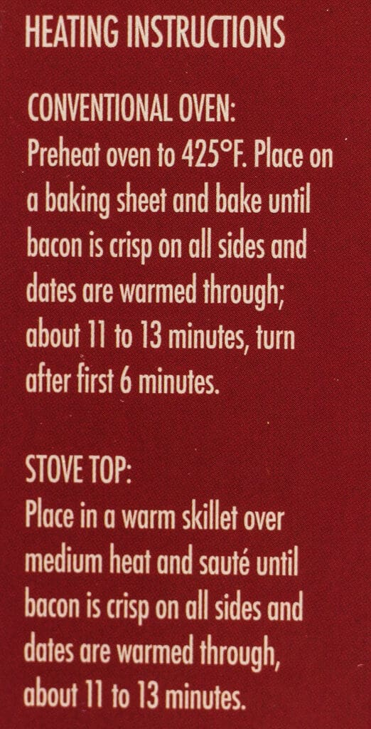 Cooking directions for Trader Joe's Uncured Bacon Wrapped Dates