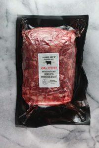 An unopened package of Trader Joe's Boneless Prime Rib Roast