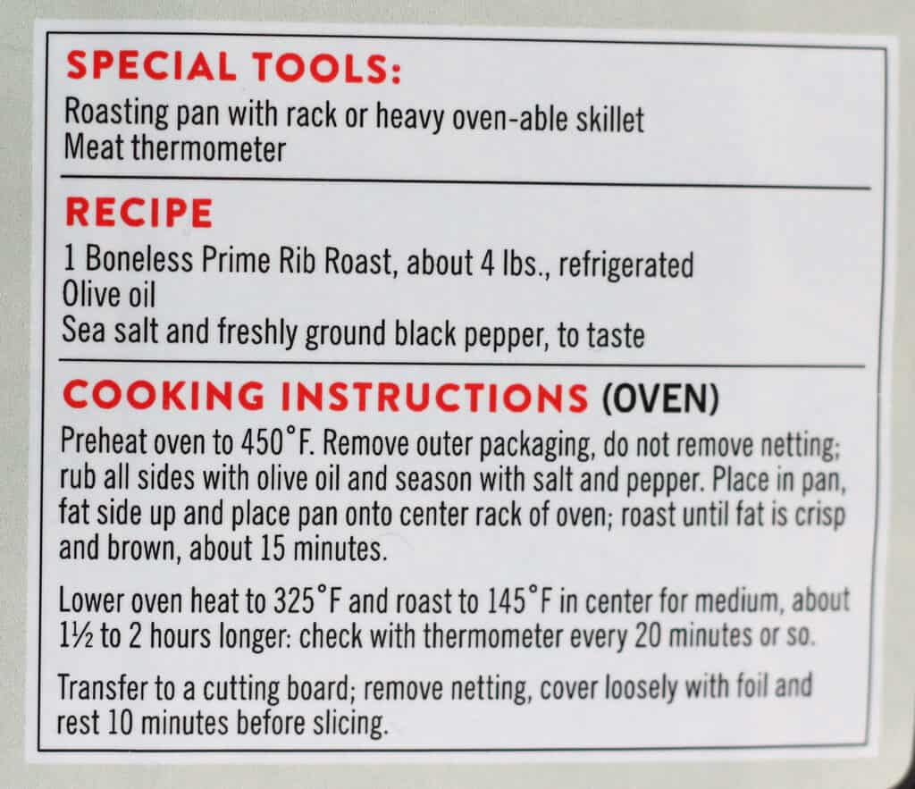Trader Joe's Boneless Prime Rib Roast directions