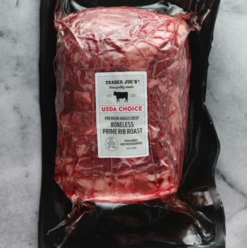 An unopened package of Trader Joe's Boneless Prime Rib Roast