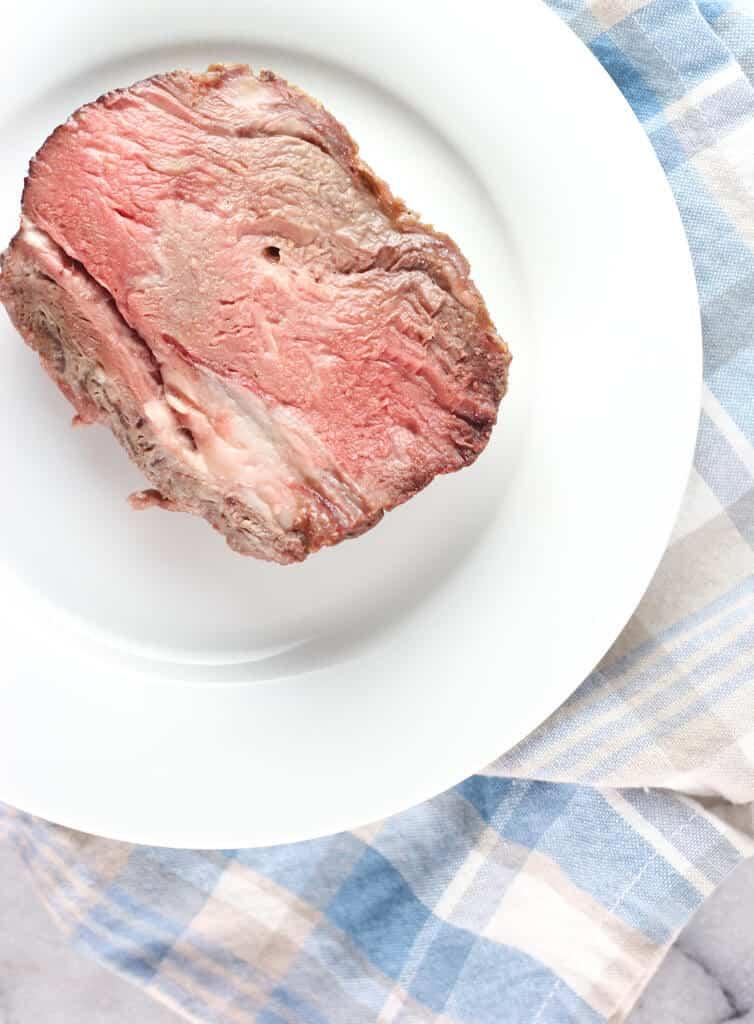 A fully cooked medium rare slice of Trader Joe's Boneless Prime Rib Roast