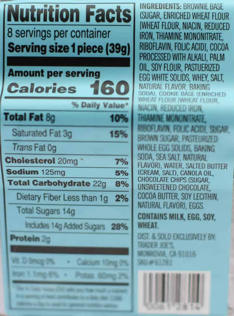 Nutritional information and calorie count in Trader Joe's Brookie