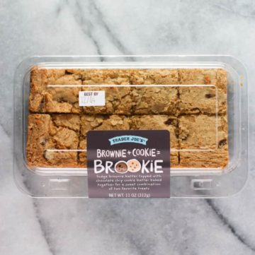 An unopened box of Trader Joe's Brookie on a marble countertop