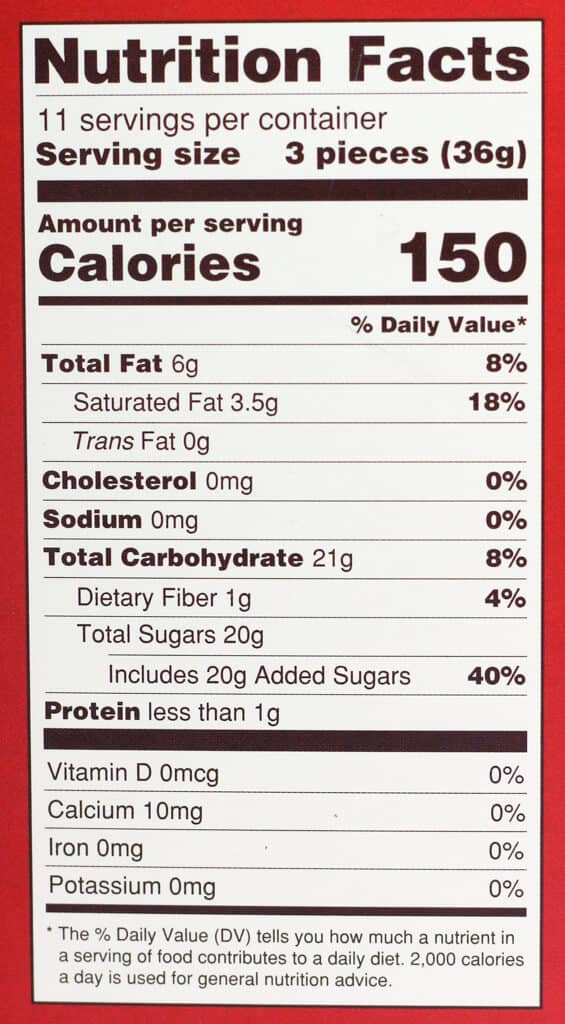 Calories and nutritional information