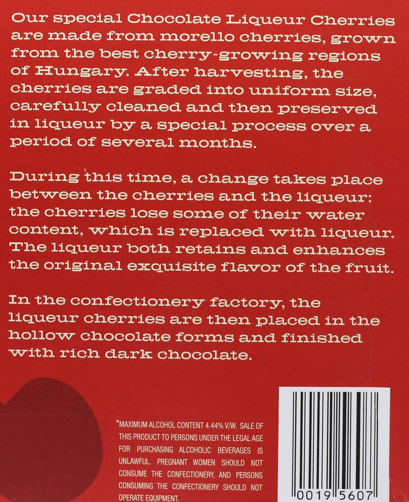 Trader Joe's Chocolate Liqueur Cherries description on the back of the box