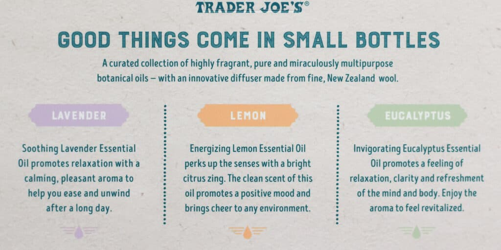Trader Joe's Essential Oil Collection how to enjoy each aroma