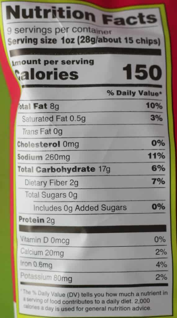 Nutritional information and calories in Trader Joe's Rolled Corn Tortilla Chips