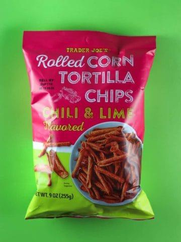 An unopened bag of Trader Joe's Rolled Corn Tortilla Chips