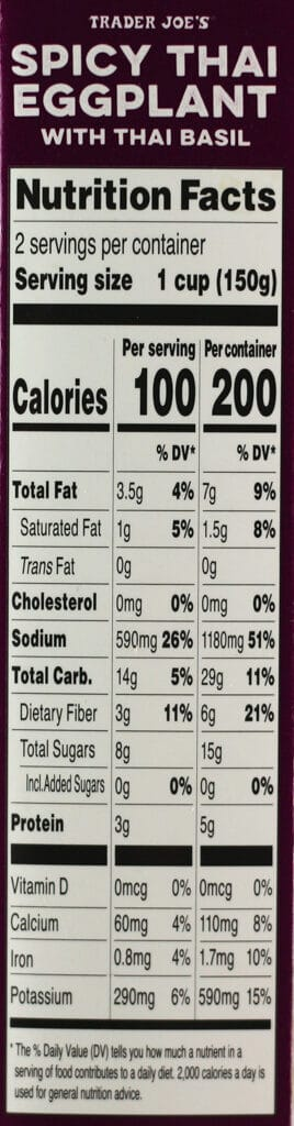 Nutritional information and calories for Trader Joe's Spicy Thai Eggplant