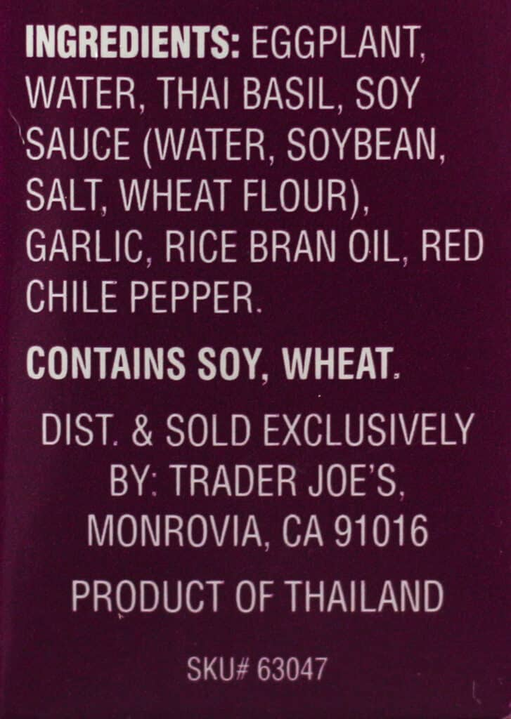 Ingredients in Trader Joe's Spicy Thai Eggplant