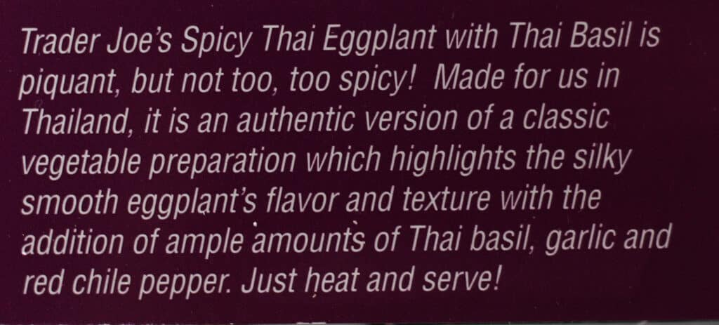 How Trader Joe's describes the contents of Trader Joe's Spicy Thai Eggplant