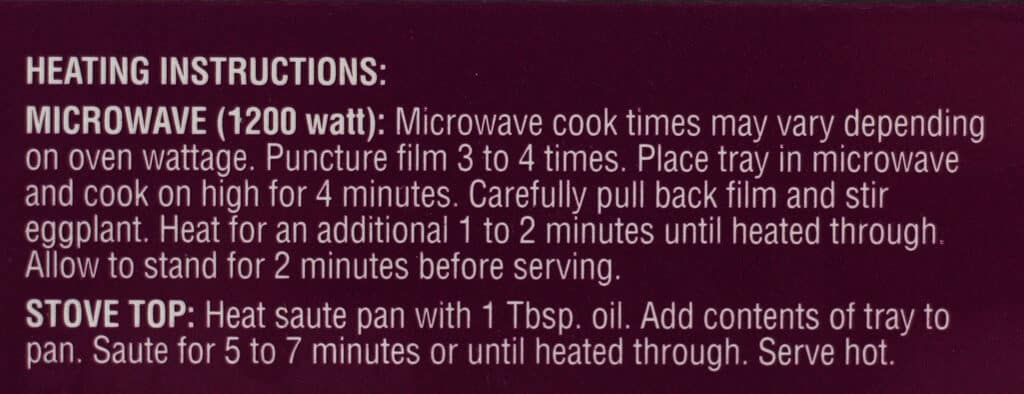 Heating instructions for Trader Joe's Spicy Thai Eggplant