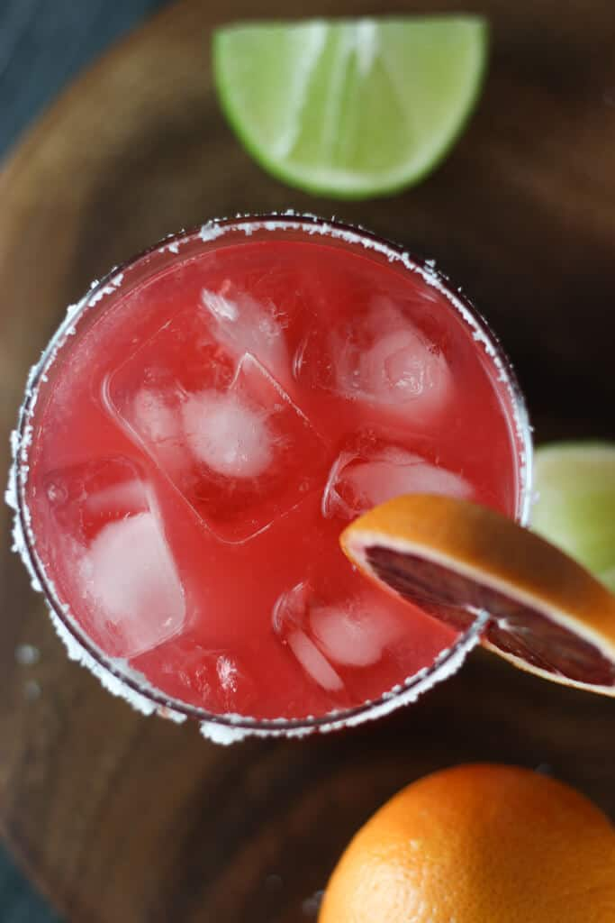 An overhead shot of a blood orange margarita