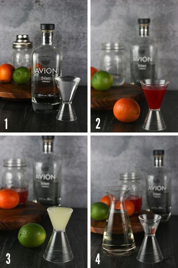 The progression of adding the ingredients to this blood orange margarita. From adding tequila, blood orange juice, lime juice, and simple syrup