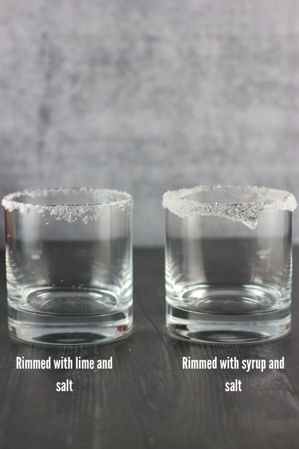 Two ways of going about rimming a margarita glass.