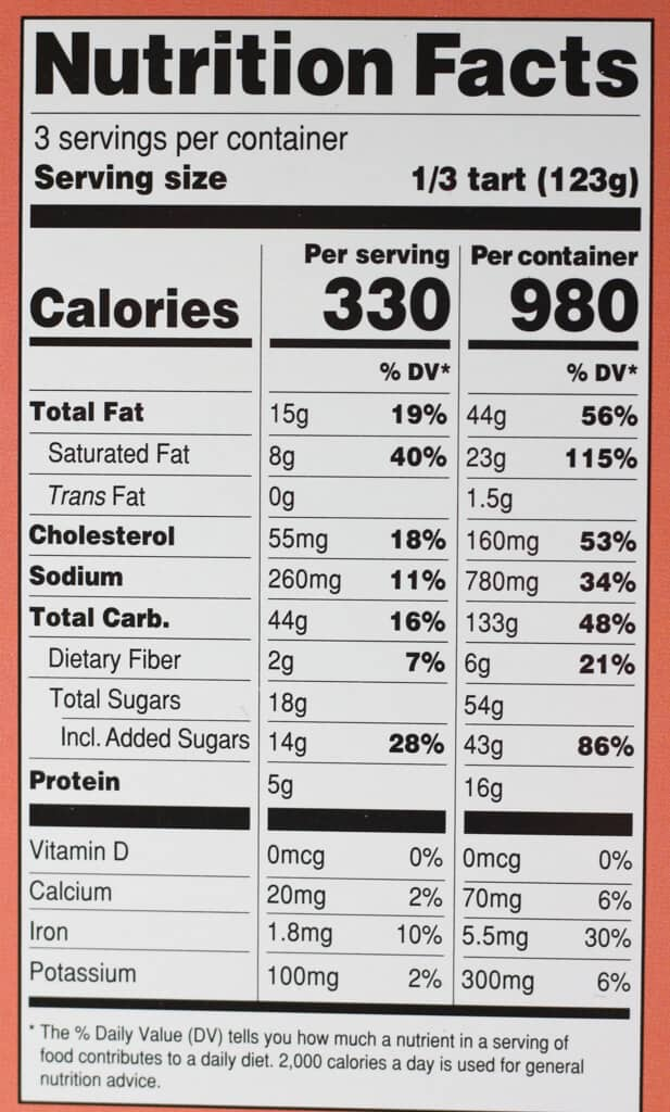Calories and nutritional information for Trader Joe's Blushing Apple Tart