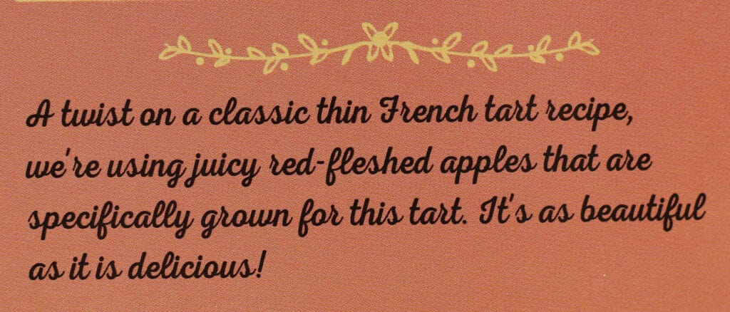 Description on the box of Trader Joe's Blushing Apple Tart