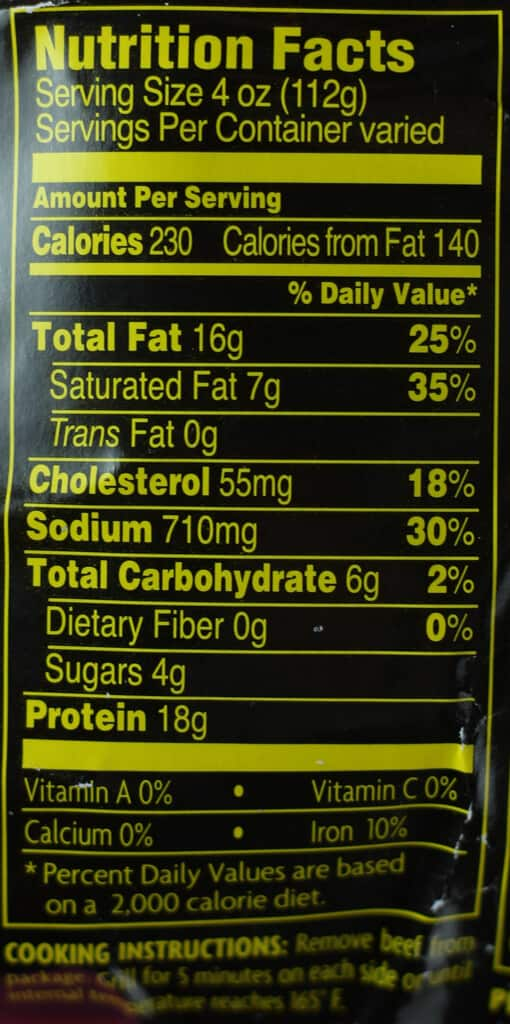 Trader Joe's Bool Kogi nutritional and calorie information