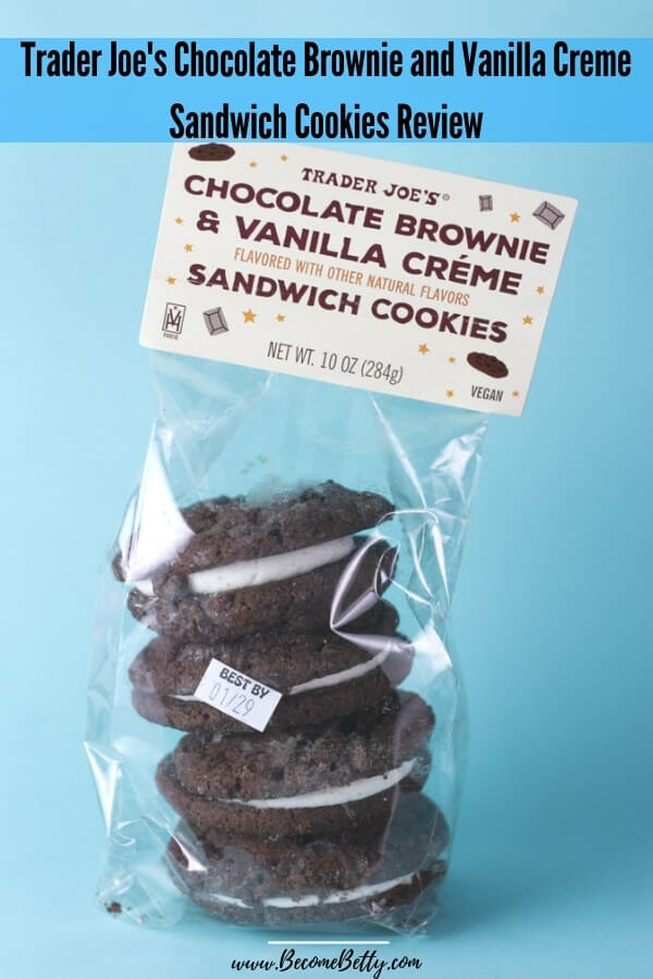 Trader Joe's Chocolate Brownie and Vanilla Creme Sandwich Cookies Review image for Pinterest
