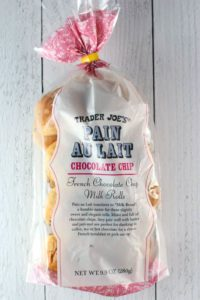 An unopened bag of Trader Joe's Chocolate Chip Pain Au Lait