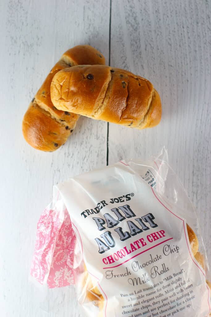 Top view of Trader Joe's Chocolate Chip Pain Au Lait with bag on the bottom