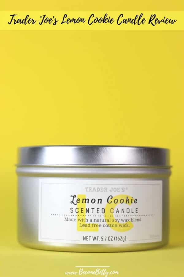 Trader Joe's Lemon Cookie Candle Review pin for Pinterest