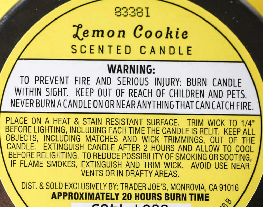 Warnings, ingredients, and burning time for Trader Joe's Lemon Cookie Scented Candle