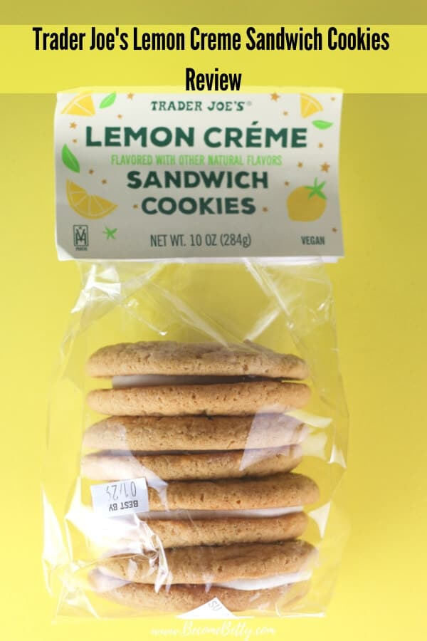 Trader Joe's Lemon Creme Sandwich Cookies review image for Pinterest