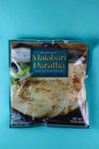 An unopened bag of Trader Joe's Malabari Paratha