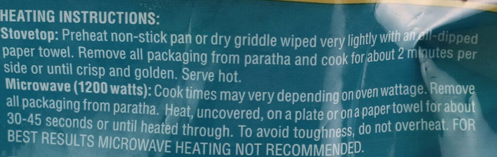 Cooking instructions for Trader Joe's Malabari Paratha