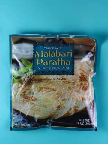 An unopened bag of Trader Joe's Malabari Paratha