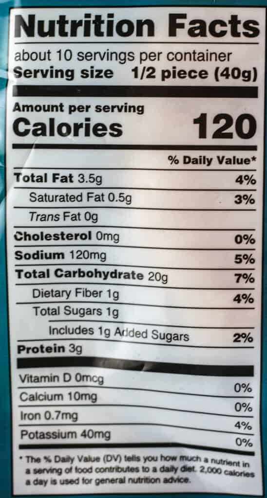 Calories and nutritional facts for Trader Joe's Malabari Paratha