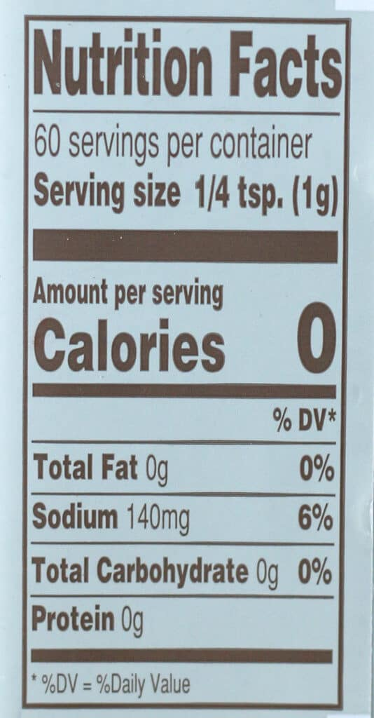 Nutritional and calorie information for Trader Joe's Multipurpose Umami Seasoning Blend