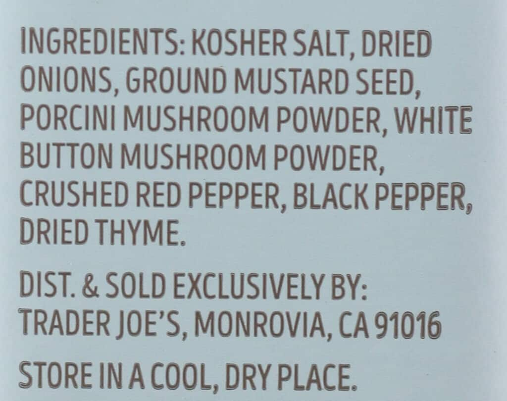 Ingredients in Trader Joe's Multipurpose Umami Seasoning Blend