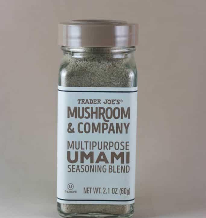 An unopened jar of Trader Joe's Multipurpose Umami Seasoning Blend