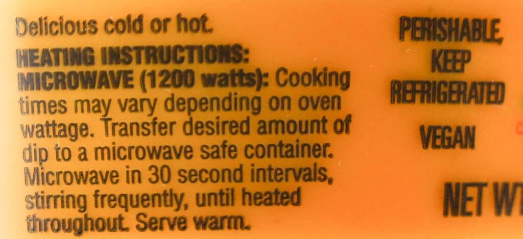 Trader Joe's Organic Creamy Cashew Fiesta Dip heating instructions