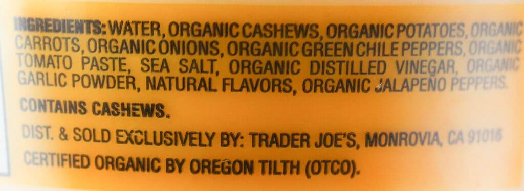 Ingredient list for Trader Joe's Organic Creamy Cashew Fiesta Dip