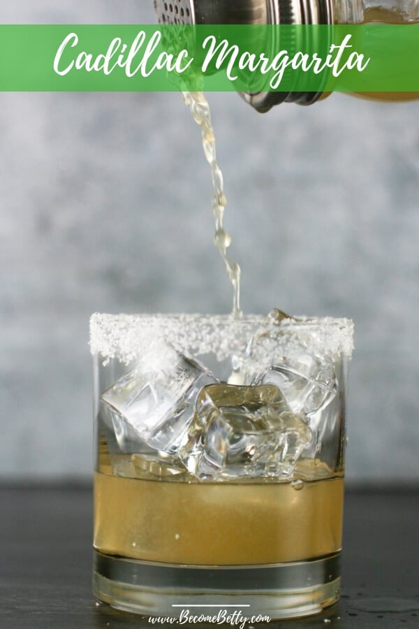 A margarita being poured into a salt rimmed glass. Image for Pinterest
