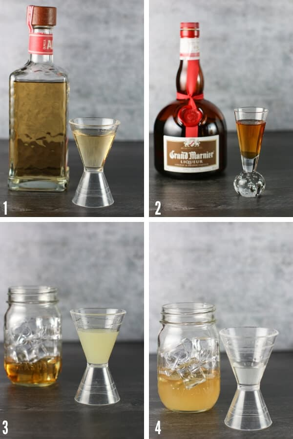 Four Ingredients that go into the cocktail shaker to make a Cadillac Margarita