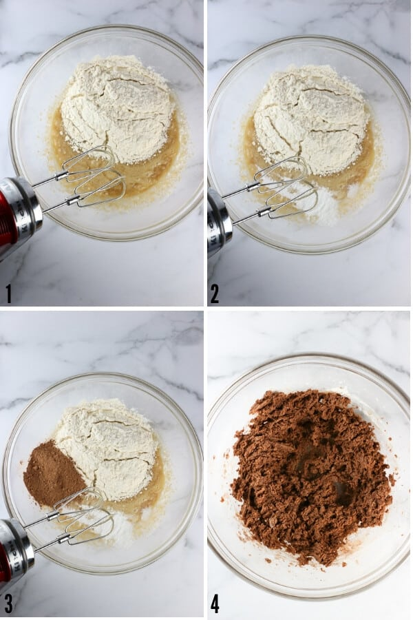 Adding the dry ingredients of flour, baking powder, salt, and cacao powder into a finished dough.