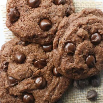 A top view of three Chocolate Chocolate Chip Cookies