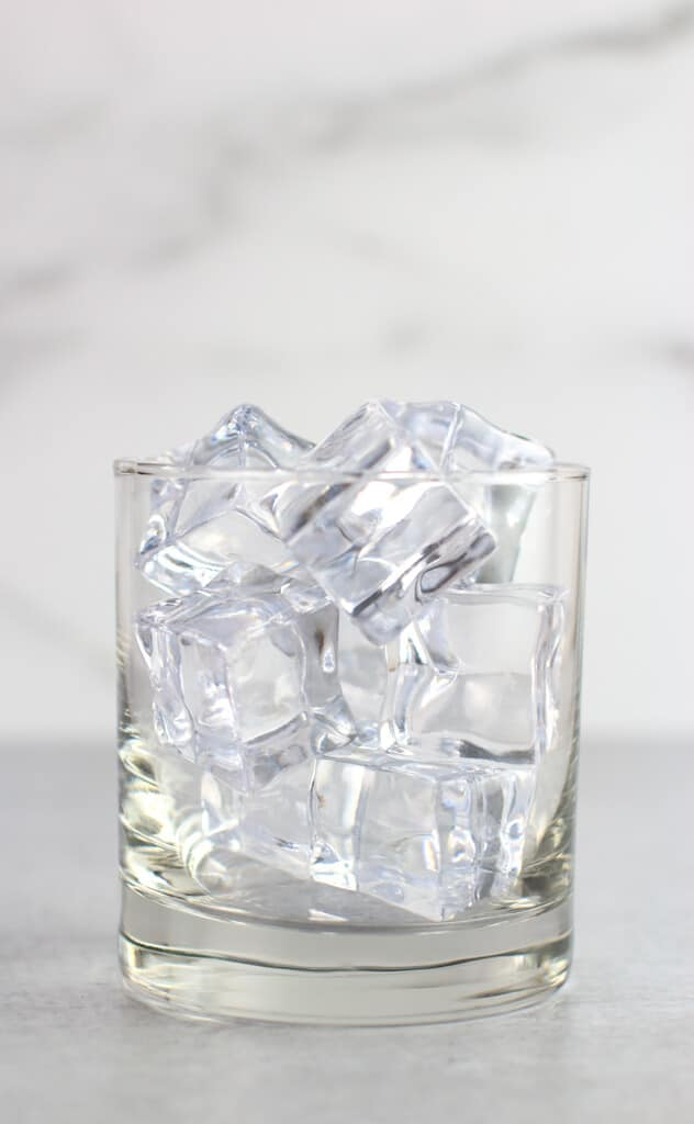 Clear ice in a clear glass