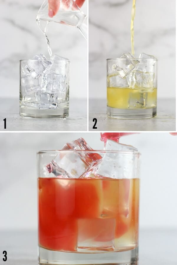 Collage of three ingredients going into the glass: malibu rum, pineapple juice, and cranberry cocktail