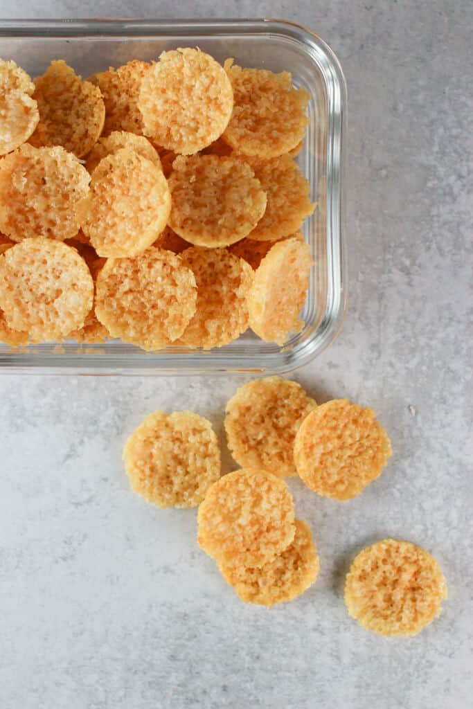 A glass bowl full of my copycat Trader Joe's Oven Baked Cheese bites.